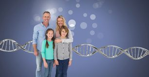 Family with sparkles and genetic DNA. Digital composite of Family with sparkles and genetic DNA royalty free stock images