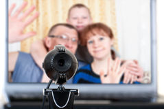 Family speaks on the video communications Royalty Free Stock Photos