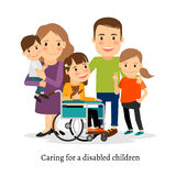 Family with special needs children Royalty Free Stock Images