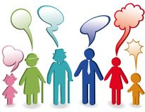 Family with speech bubbles stock illustration