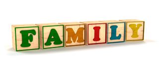 Family Spelled Out in Child Color Blocks. Angled with White Background and soft shadows Royalty Free Stock Image