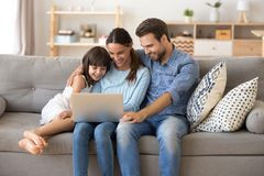 Family spend free time at home surfing internet royalty free stock images