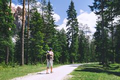 Family spend summer holiday in Dolomites, South Tyrol, Italy, Eu Stock Photo