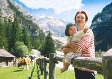 Family spend summer holiday in Dolomites, South Tyrol, Italy, Europe royalty free stock photo
