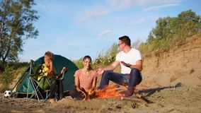 A family spend the weekend in the camping area near the campfire in the open air stock footage