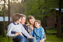 Family Spending Quality Time At Campsite Stock Image