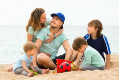Family  spending their free time  on the coast Royalty Free Stock Photography