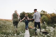 Family spending time in farm stock image