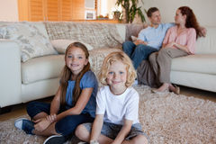 Family spending time in the living room Stock Image