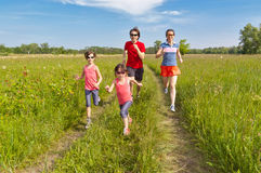 Family sport, jogging outdoors Royalty Free Stock Photos