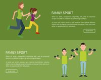 Family Posters Set Push Button Read More Vector. Family sport posters set with push button read more mother and daughter jogging together and father and son with Stock Photos