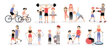 Family sports activity collection. Mothers and fathers with children set. Bosu, weightlifting, boxing, jumping rope. Tennis, football, jogging, yoga cycling vector illustration