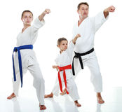 Family sportsmen two sisters with her father in a kimono beat punch arm Royalty Free Stock Photography