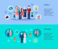 Family And Spouses Banners vector illustration