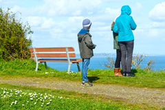 Family on Spring Atlantic Ocean coast (France) Royalty Free Stock Image