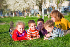 Family in spring park Royalty Free Stock Photo