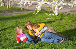Family in spring park Royalty Free Stock Images