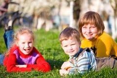 Family in spring park Stock Image