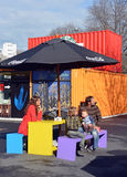Family in Spring at the Restart Container Shops in Christchurch. Stock Photos