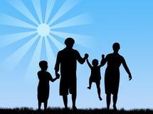 Family in springtime. Happy family in springtime under the sun Royalty Free Illustration
