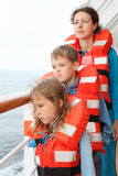 Family stand at deck of cruise liner Royalty Free Stock Photos