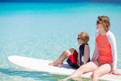 Family stand up paddling Stock Photography