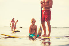 Family Stand Up Paddling Stock Photos