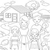Family Standing Front Their Home In Doodle Style Royalty Free Stock Photography