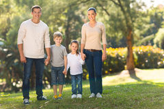 Family standing outdoors Royalty Free Stock Photos