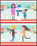 Family and Snowman Posters Vector Illustration. Family standing beside snowman wearing blue knitted scarf and hat, poster with couple happy to see each other Stock Photo
