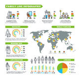 Family statistics vector infographics with population charts and demographics diagrams. World statistic family, life duration and natality, infographic data Stock Photo