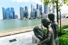 Family statues at marina bay Singapore. Royalty Free Stock Images