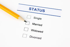 Family status form (Marital Status form). Marital status form with checkbox and pensil Stock Photography