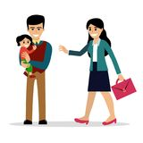 Family of stay-at-home dad and working mother. Stay-at-home dad holding a baby daughter meets the mother after work. Vector illustration, cartoon style. Isolated Stock Photography