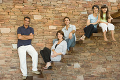 Family on steps Royalty Free Stock Photo