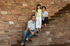 Family on steps Royalty Free Stock Photos