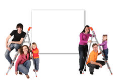 Family with steps and wall for text collage Stock Image