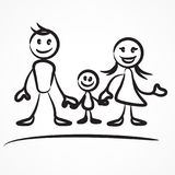 Family stick figure. S, hand drawn family holding hands together on white. Vector illustration Royalty Free Stock Image