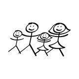 Family of stick figures illustration Royalty Free Stock Photography
