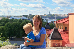 Family in Stockholm, Sweden royalty free stock photos