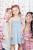 Family strands behind curtains of plastic beads Royalty Free Stock Photos