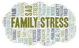 Family Stress word cloud. Wordcloud made with text only stock illustration