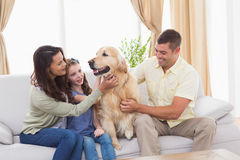 Family stroking dog while sitting on sofa. Loving family stroking dog while sitting on sofa at home Royalty Free Stock Photos