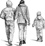 Family at a stroll Royalty Free Stock Photography