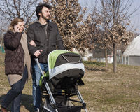 Family with Stroller Royalty Free Stock Photography