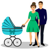 Family with a stroller. A young couple. Illustration of a flat design.  vector illustration Royalty Free Stock Photos