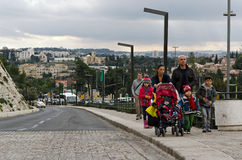Family strolling in Jerusalem. Family strolling outside Jaffa gate in Jerusalem old city Stock Image