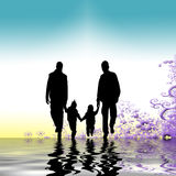 Family strolling together. A silhouette illustration of a family, consisting of a mother, father and two young children, strolling together, hand-in-hand stock illustration