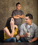 Family With Stubborn Son. Serious Native American mother and father with stubborn son Royalty Free Stock Image