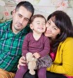 Family of 3 in studio Stock Photo